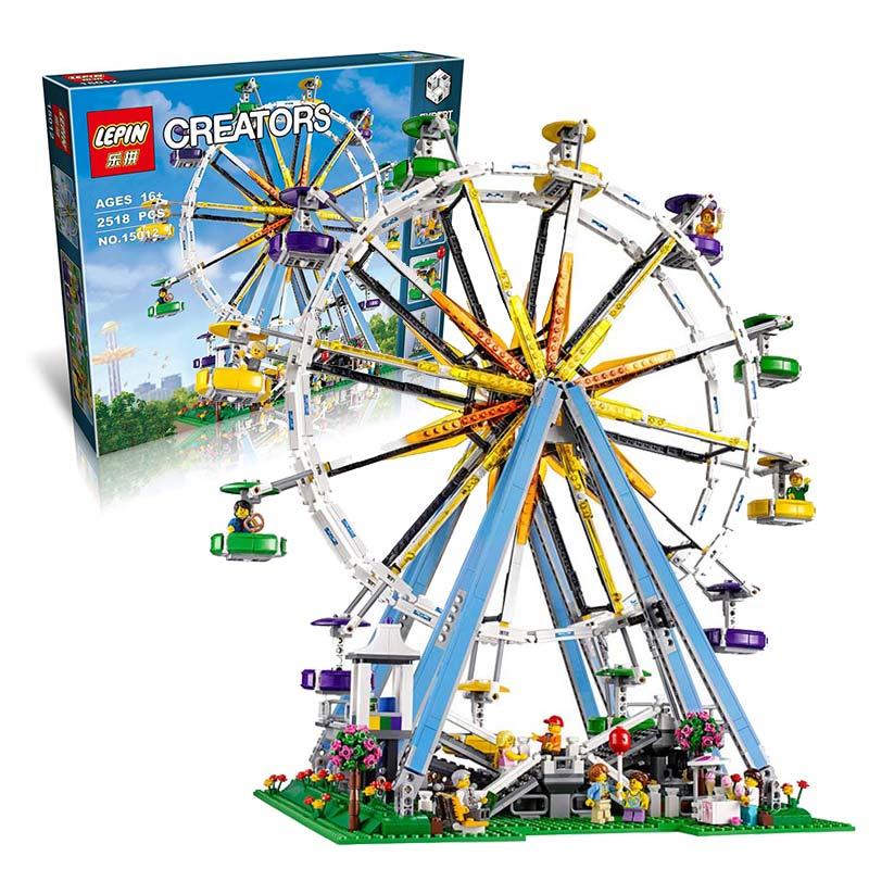 DHL the legoing LEPIN 15012 2518Pcs City Expert Ferris Wheel Model Building Kits Blocks Bricks Toys Compatible with 10247 15012 2478pcs city series expert ferris wheel set compatible with 10247 model building blocks toys