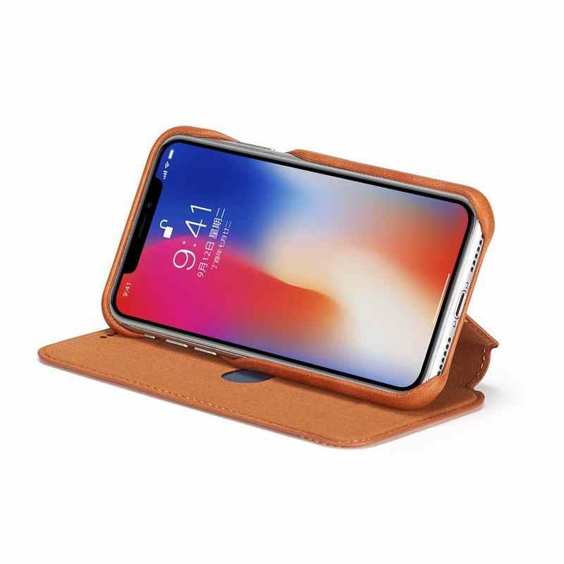 Coques de téléphone pour iphone 6 S 7 8 6 Plus Apple X XS MAX XR housse de luxe Flip portefeuille magnétique en cuir sac pour iphone 7 plus Coque