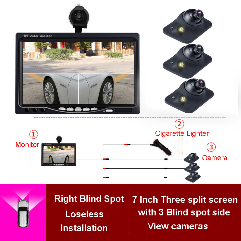 7 inch TFT LCD HD Screen Car Monitor rearview reversing parking monitor front,left, Rearview camera Watrerproof night Vision цена