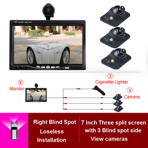 7 pulgadas TFT LCD pantalla HD Monitor de coche retrovisor Monitor para estacionar marcha atrás frente a la izquierda retrovisor Cámara Watrerproof visión de noche