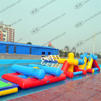Lake Swimming Pool Kids Floating Inflatable Obstacle Course With 0.9mm PVC Tarpaulin