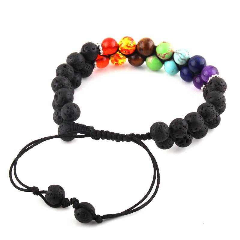 Moda zroszony bransoletki 7 Chakra bransoletka z kamienia naturalnego kobiet mężczyzn uzdrowienie równowagi jogi biżuteria Drop Shipping