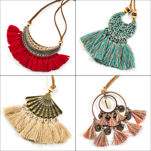 2018 New bohemian fringed tassel sweater necklace jewelery wholesale sale Natural stone chip shell moon round pendant necklaces