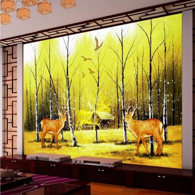 Fototapete Elch wald wandbilder wohnzimmer fernsehhintergrund ...