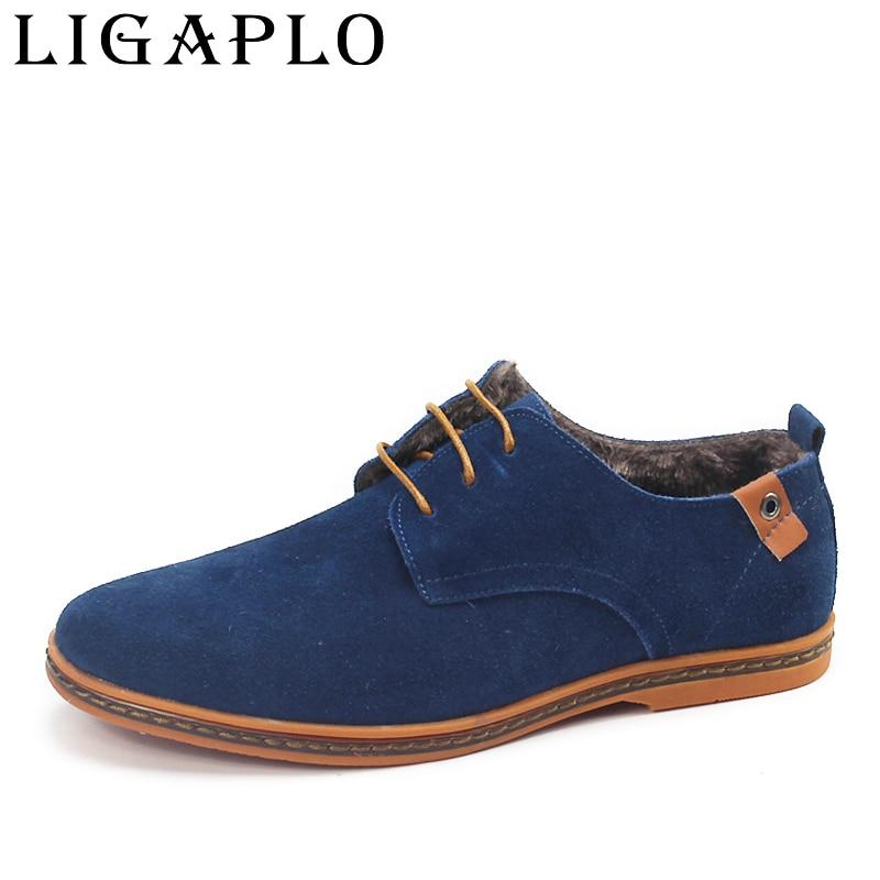 2017 New Fashion boots winter warm Men Shoes Leather Shoes Men s Flats Shoes Low for