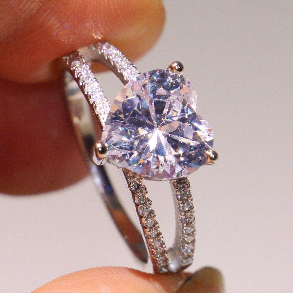 Drop Shipping Luxe Bijoux Pur 100% 925 Sterling Argent Goutte D'eau Poire Cut 5A Zircone Parti Femmes De Mariage Coeur Bande anneau