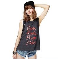 new big size Summer woman wear Girls Rule Letters printing dark grey sleeveless round collar tank vest women tee female T-shirt