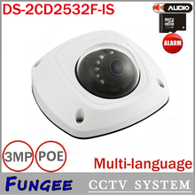 Wholesale 3MP  Network Mini Dome Camera CCTV IP Out door ip camera DS-2CD2532F-IS  Audio Alarm SD Card slot IP66 POE
