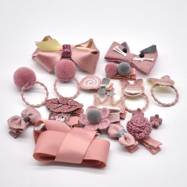 18 Pcs/Box New Children Accessories Hairpins Fabric Hair clips Girls Headdress 3