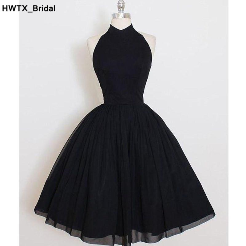 Ruffled Chiffon Black Bridesmaid Dress 2018 Short Knee Length Formal Wedding Party Dress Sexy Backless Women Bridesmaid Dresses