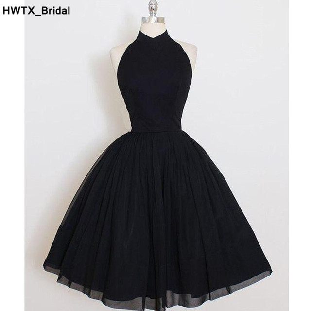 Ruffled Chiffon Black Bridesmaid Dress 2018 Short Knee Length Formal  Wedding Party Dress Sexy Backless Women 86d617a73b41