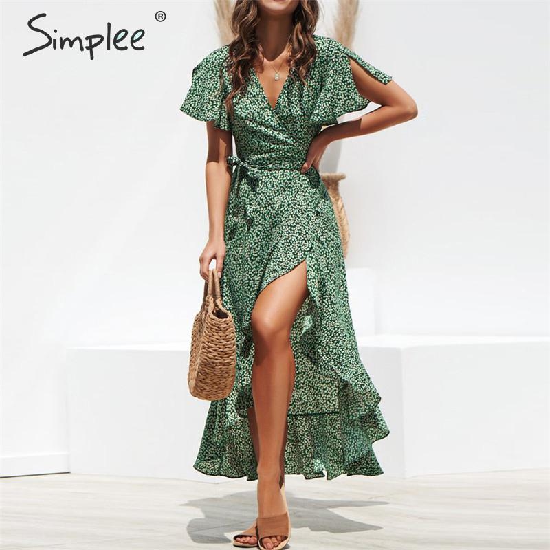 Simplee леопардовое платье с принтом женские летние ремни Длинные Зеленые Сплит цветочный принт пляжное платье сексуальные праздничные женск...