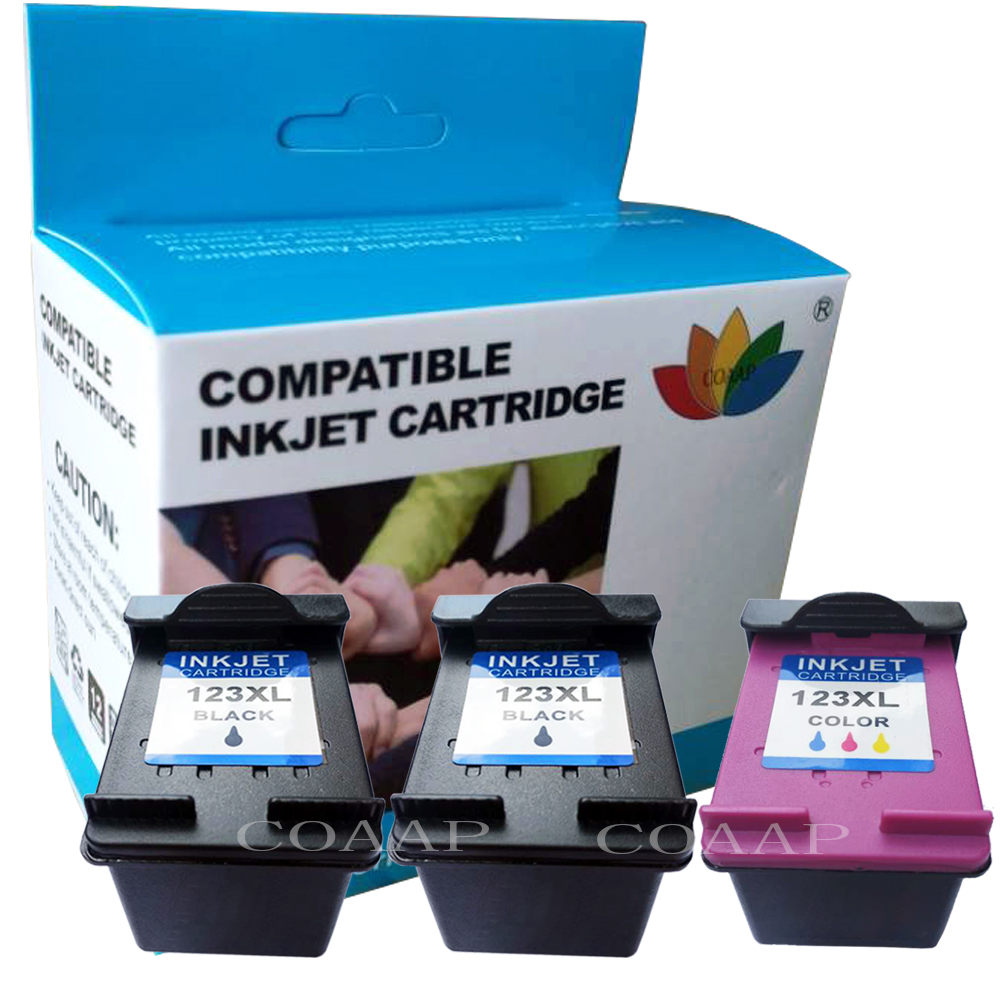 COAAP 3x Compatible HP123 Refilled ink cartridges for HP 123 XL OfficeJet 3830 3831 3832 3833