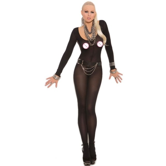 10d9cbb674b 2019 Sheer nylon pantyhose bodystocking lingerie set ladies black foxy babe  opaque Sexy Body bodystockings for women 79796-2