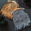 Bebé Ropa de Las Muchachas 2016 Del Chaleco de Las Niñas Causales Borla Con Flecos de Gamuza Chaleco De Piel Abrigo de Los Niños Del Chaleco de Tops Cremallera prendas de Vestir Exteriores