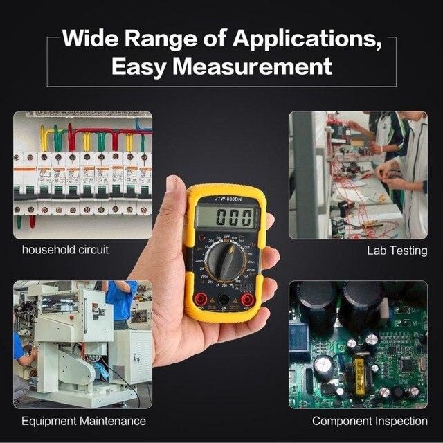 JTW-830DN Handheld Mini Digital Multimeter 1999 Counts AC/DC Volt Amp Ohm Diode hFE Continuity Square Wave Output Tester