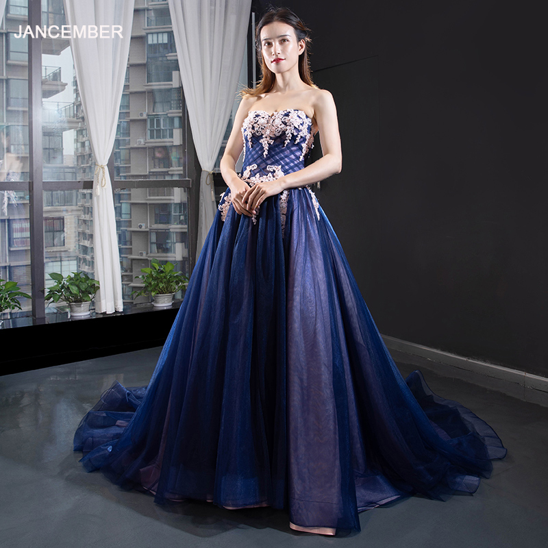 J66115B jancember elegant   evening     dress   for girl with train strapless A-line lace up back floor length prom   dress   robe de soiree