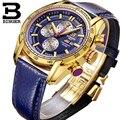 Швейцария Часовой Бренд 2016 Новый Водонепроницаемый Спорт Военная Часы Кварцевый Хронограф Наручные Часы БИНГЕР B-1163G Мужские Часы