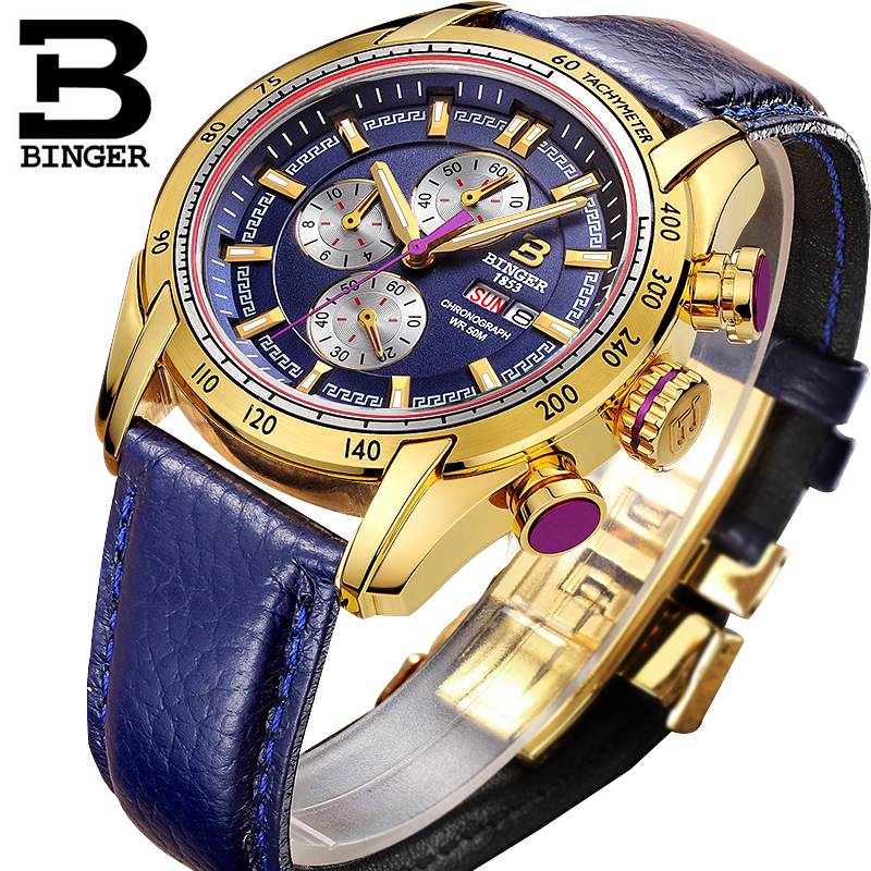 44mm Switzerland Chronograph Sports Watch Swim 2018 Waterproof Military Quartz Wristwatch BINGER Men Watches relogio masculino