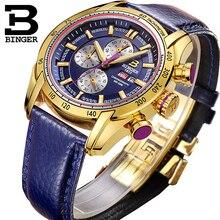 Швейцария часовой бренд новинка 2017 года Водонепроницаемый Спорт военные часы кварцевый хронограф наручные часы Бингер B-1163G мужские часы