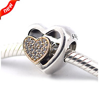 Fit for Pandora Charms Bracelets 925 Sterling Silver Jewelry Joined Together Beads with 14K Real Gold Free Shipping