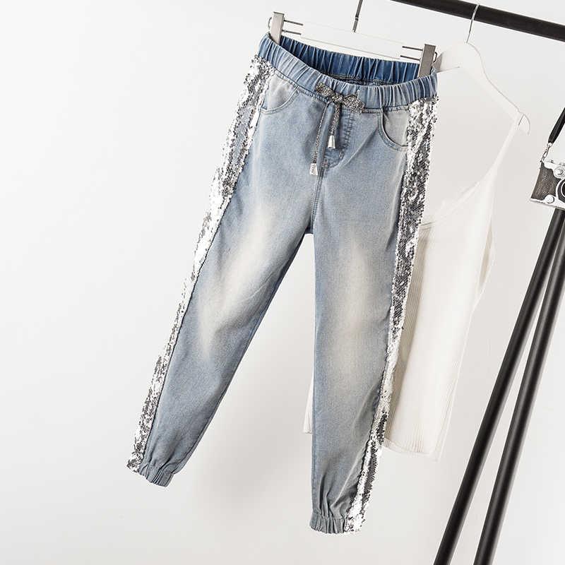 Largesize 5xl лоскутные джинсы с блестками женские потертые джинсовые брюки джинсы женский эластичный пояс брюки карго полосатые джинсы по бокам B010