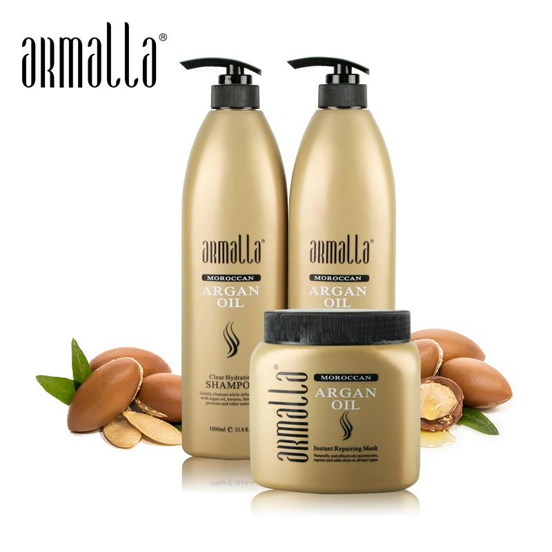 Armalla 1000ml Moroccan Professional Natural Dry Shampoo and 1000ml Deep Moisturizing Damaged Conditioner+500ml Hair Mask Set