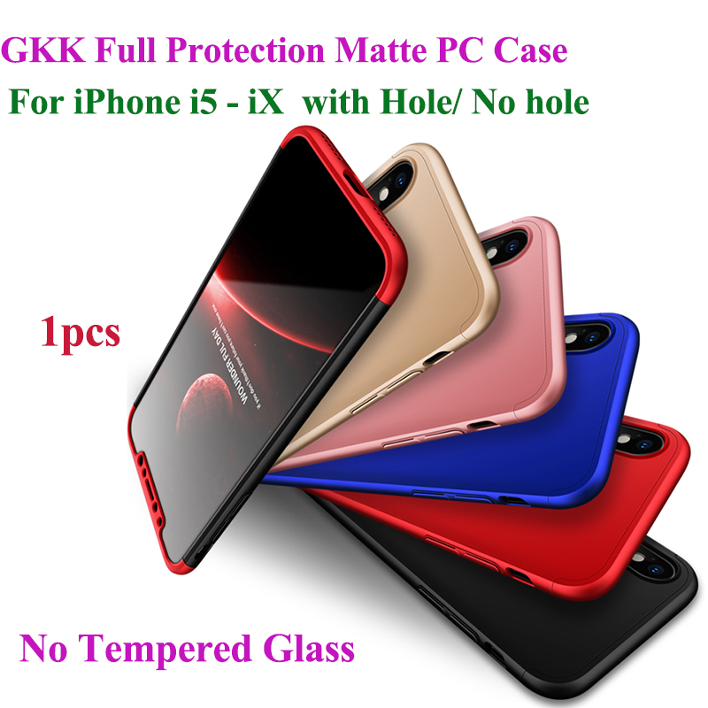 GKK Case for iPhone X 5 5s 6 6s 7 8 Plus 360 Full Protection Anti-knock 3 in 1 Hard PC Matte For iPhone 7 8 6s 6 Cover image