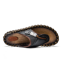 Merkmak Luxury Brand New Men's Flip Flops Genuine Leather Slippers Summer