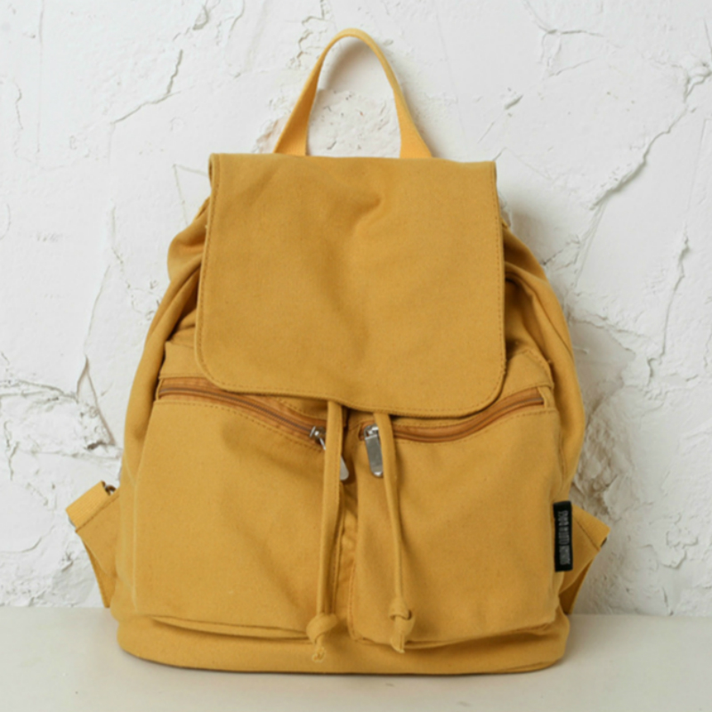 New White Yellow Backpack Women Stylish Canvas Backpack School Bag for Teenage Girl Solid Travel Bag Drawstring Rucksack Mochila