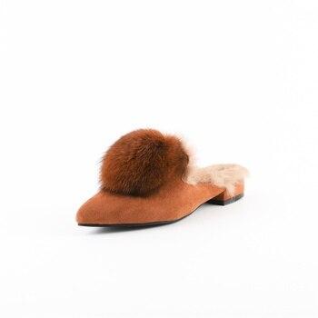 Women's Slippers Muller Pointed Toe Rabbit Fur Warm Inside Fluffy Balls Decorative Fashion Autumn Winter Slippers Women Shoes