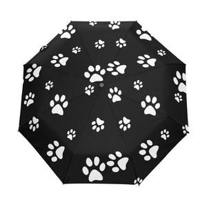 white paw print Umbrella Custo