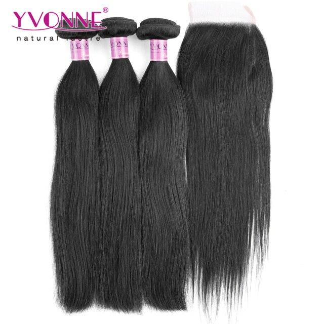 Cabelo virgem brasileiro em linha reta com fechamento, 3 bundles cabelo humano com fecho, aliexpress yvonne produtos de cabelo