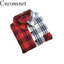 Flannel Plaid Women Shirts Tops Casual Long Sleeve Ladies Bl