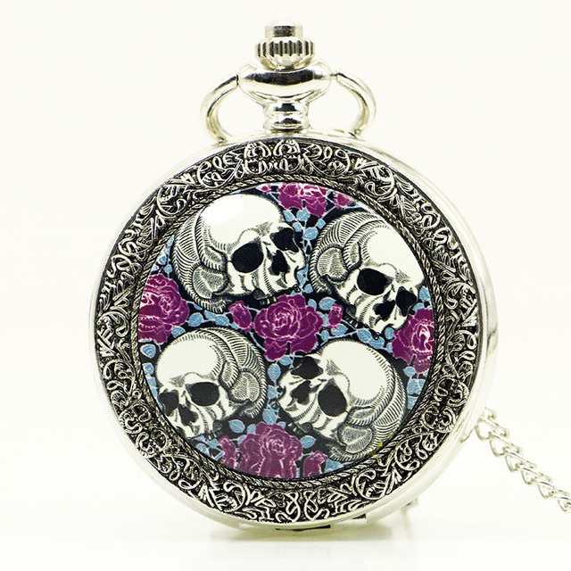 Hot Sale Free Shipping Retro Four Skull Heads & Rose Pocket Watch With Necklace