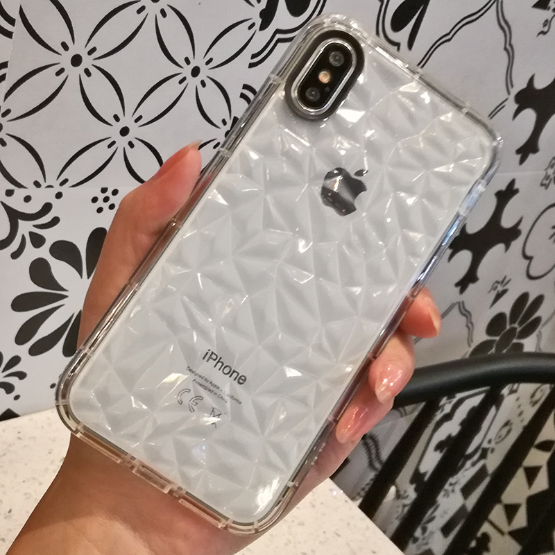 Luxury Geometric Diamond Transparent Soft Cover For iPhone 5 5S SE 6 6S 7 8 8 plus Rhombus Clear Case For iPhone X Water Feeling (5)