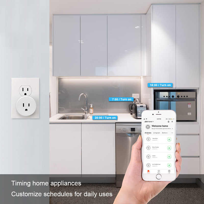 FrankEver Mini amerykańska wtyczka wi-fi z ochroną przeciwprzepięciową sterowanie głosem inteligentne gniazdo praca z aplikacją Alexa Google Home Tuya
