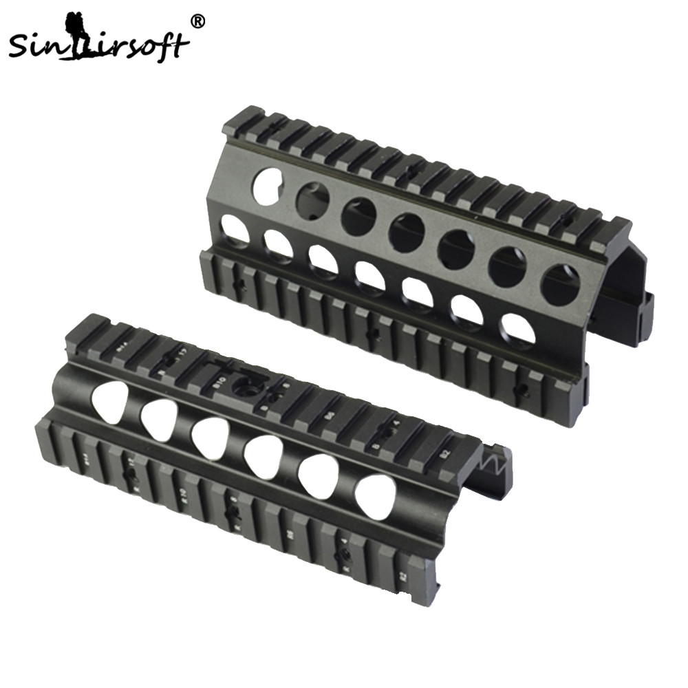 Sinairsoft Aluminum CNC M249 Lower&Upper Scope Mount Handguard 6pcs RIS Rails System Hunting Shooting Tactical Quad Rail Mount ak 47 tactical quad rail picatinny handguard system cnc aluminum full length tactical for ak rifles 26cm hunting gun accessories