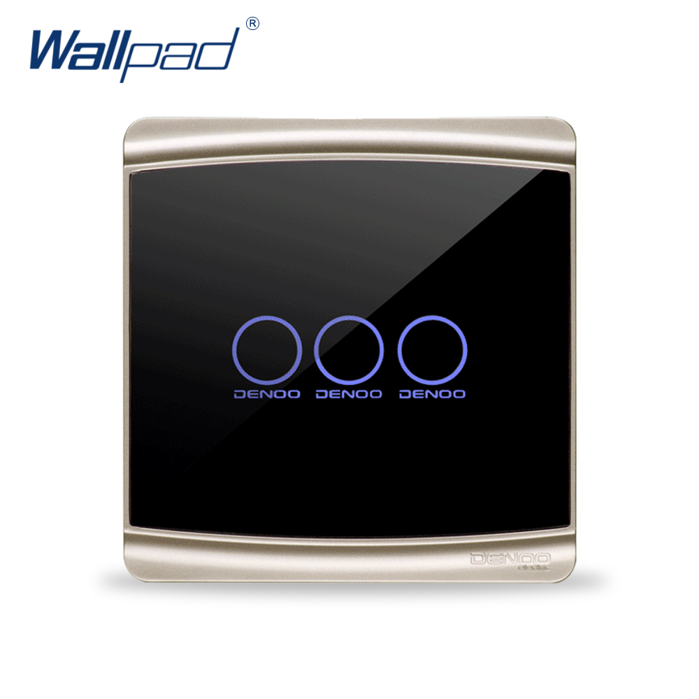 3 Gang 2 Way Wallpad Luxury Black Crystal Glass Switch Panel Touch Screen Wall Light Switch Backlight LED 2017 free shipping smart wall switch crystal glass panel switch us 2 gang remote control touch switch wall light switch for led