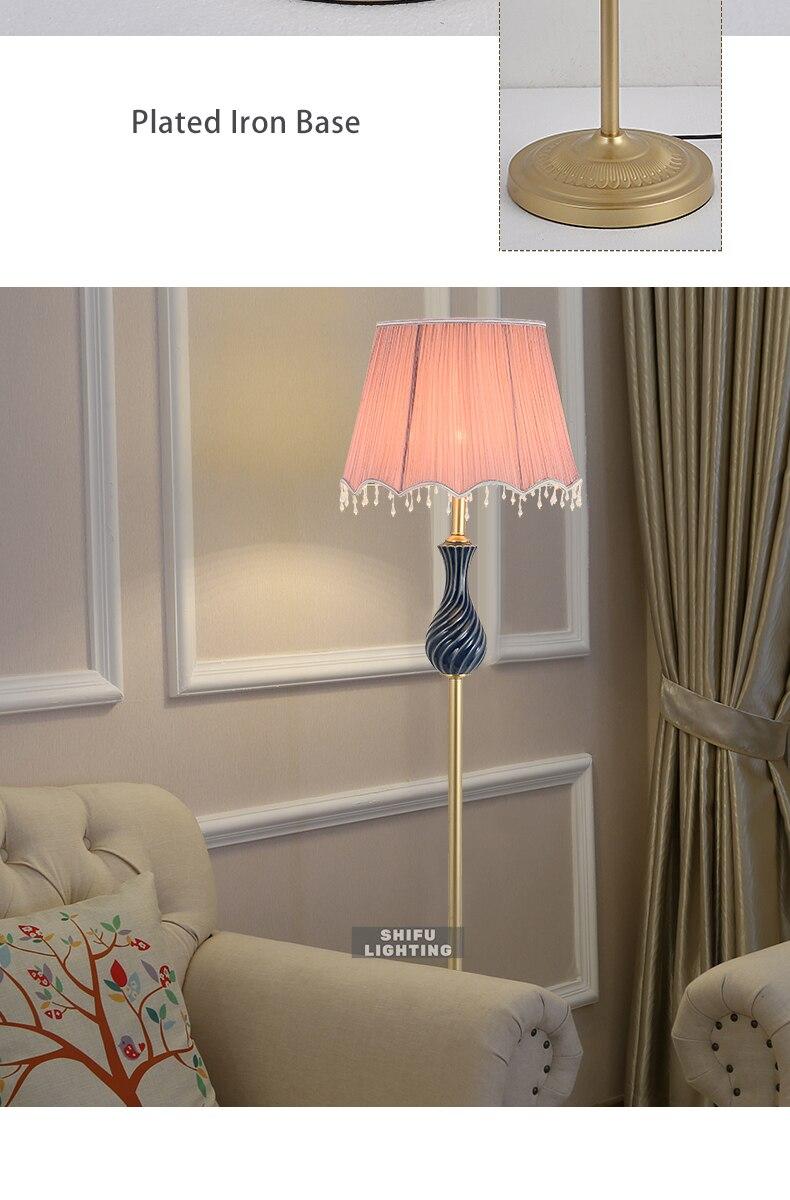 Американский стиль торшер современный тканевый абажур стоящая лампа E27 светодиодные лампы для пола для гостиной настольная прикроватная офисная