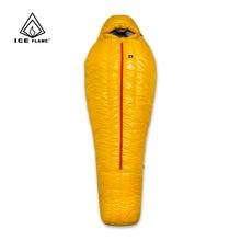 น้ำแข็งเปลวไฟ20D Ultralight Camping Mummy 90% เป็ดสีขาวลงถุงนอน3 Seasonเดินป่า700FP YKKซิป