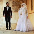 Muslim Wedding Dress with White Tulle Appliques Beading Long Sleeve Sheath Long Puffy Organza Train White Bridal Gown