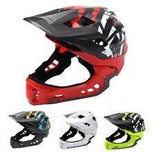 Детский велосипедный шлем съемный на все лицо с задним фонарем