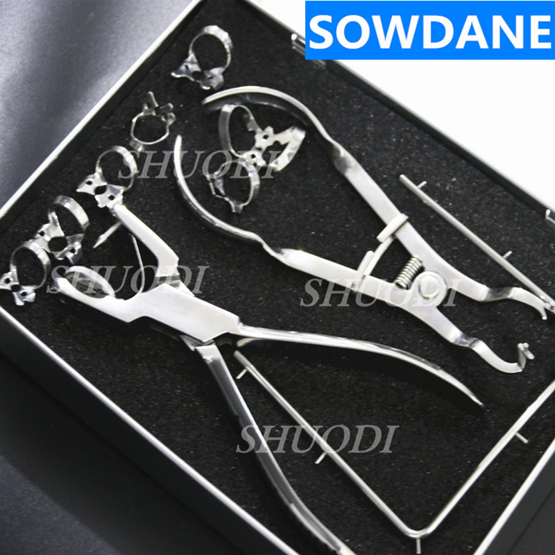 Dental German Stainless Steel High Quality Rubber Dam Punch Forcep Clamps  Instruments Set