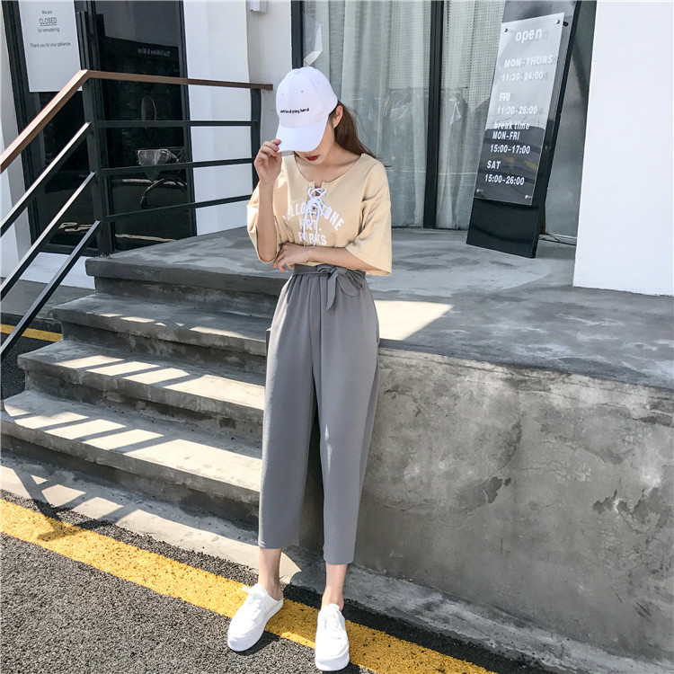 19 Women Casual Loose Wide Leg Pant Womens Elegant Fashion Preppy Style Trousers Female Pure Color Females New Palazzo Pants 46