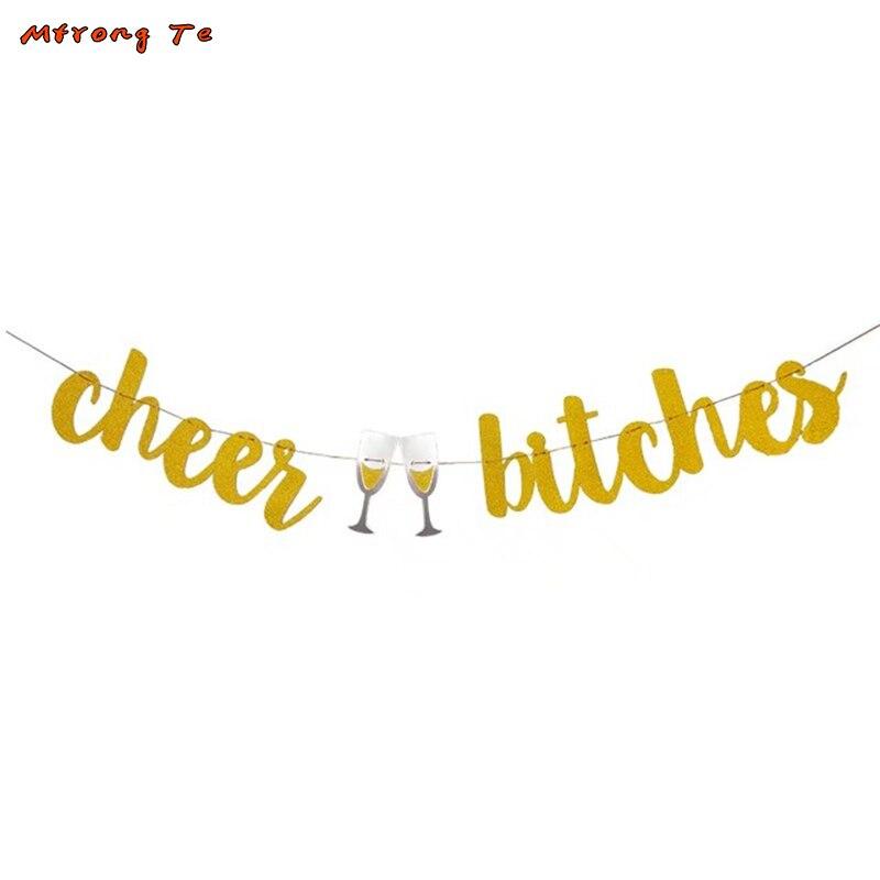 1 компл. золото блестящих букв ура суки баннер для bachelorette вечерние украшения Обручение вечерние ура суки знак