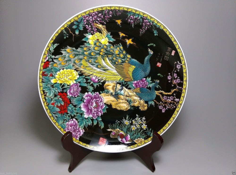 Fine Chinese Old Hand painted Ceramic large Porcelain plate The peacock shows its tail-in Figurines \u0026 Miniatures from Home \u0026 Garden on Aliexpress.com ... & Fine Chinese Old Hand painted Ceramic large Porcelain plate The ...