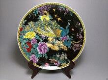 Feine Chinesische Alte Hand bemalt Keramik große porzellanteller Der pfau zeigt seinen schwanz