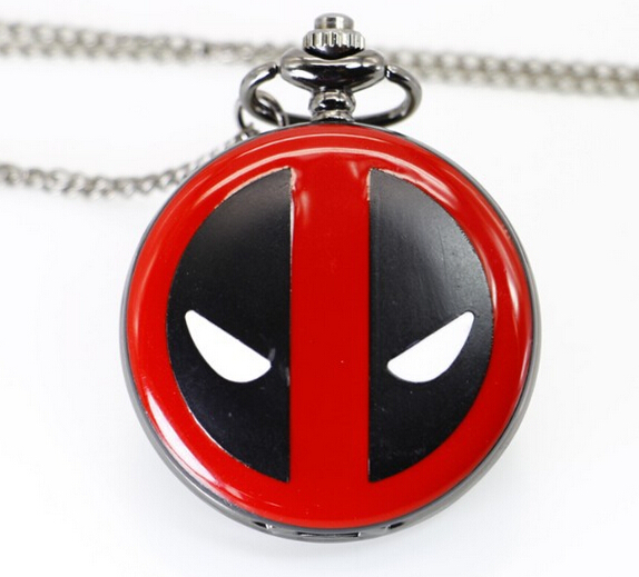 Cool Antique Deadpool Full Hunter Quartz Pocket Watch Round Fob Pendant With Necklace Chain To Boy Girl CF1056