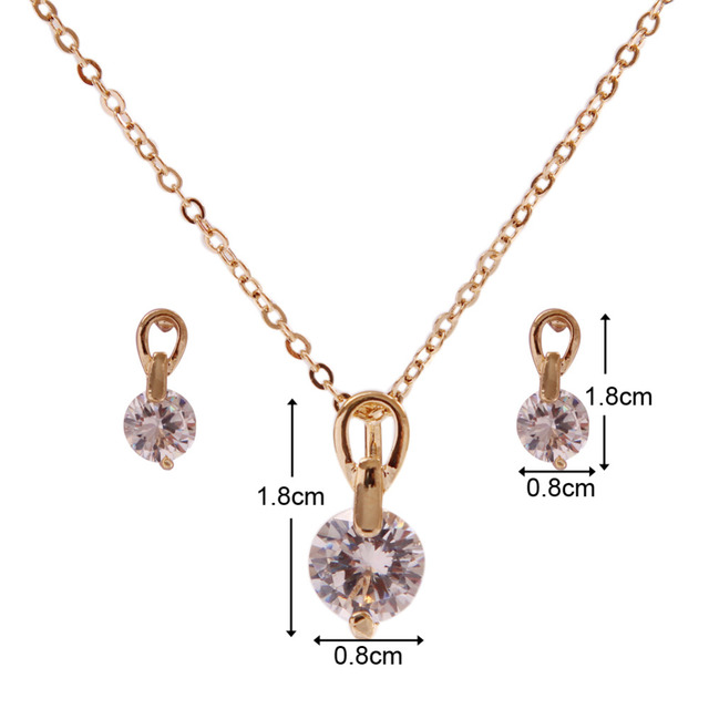 Gold Plated Necklace Pendant Drop Earring Set